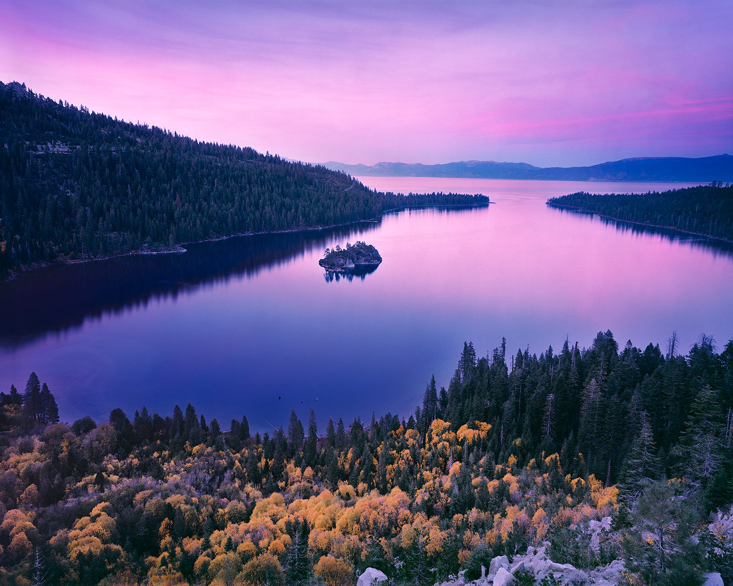 Fall Color & Sunset, Emerald Bay