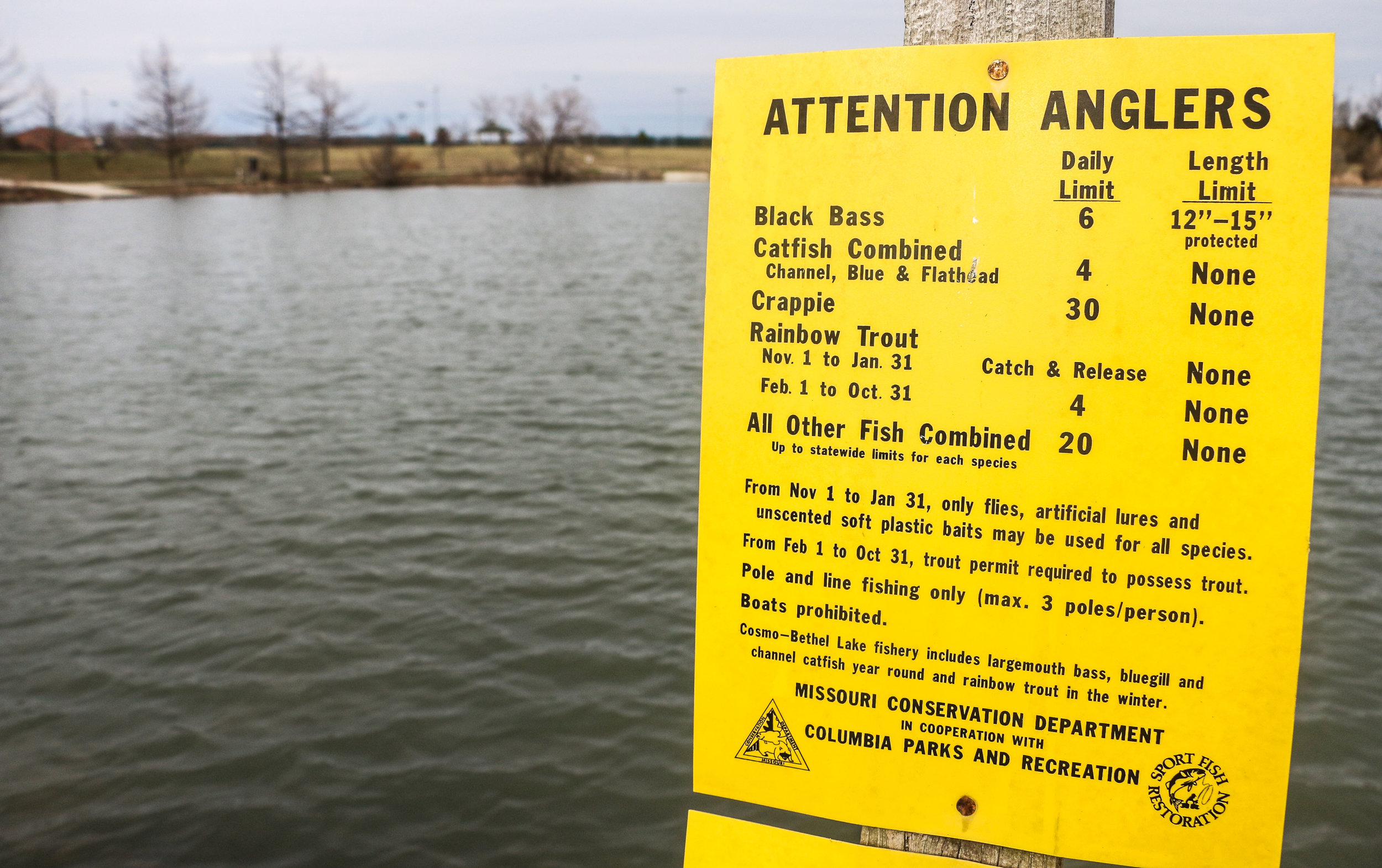 The Missouri Department of Conservation reminds fishermen of its regulations at Cosmo-Bethel Park in Columbia, Missouri, on Friday, March 10, 2017. From November to January each year, fishing is restricted to catch and release only.