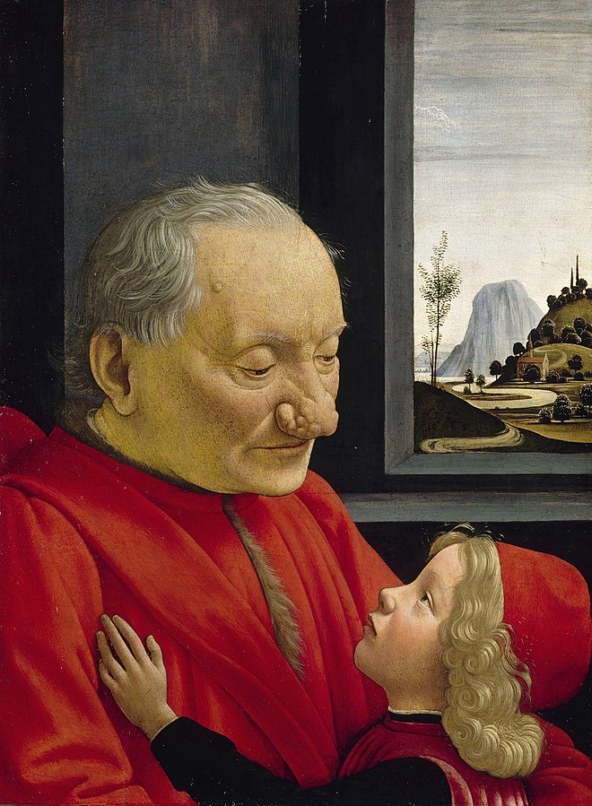 An Old Man and his Grandson, ca. 1490, by Domenico Ghirlandaio. Tempera on panel, 62.7 cm x 46.3 cm. Louvre, Paris