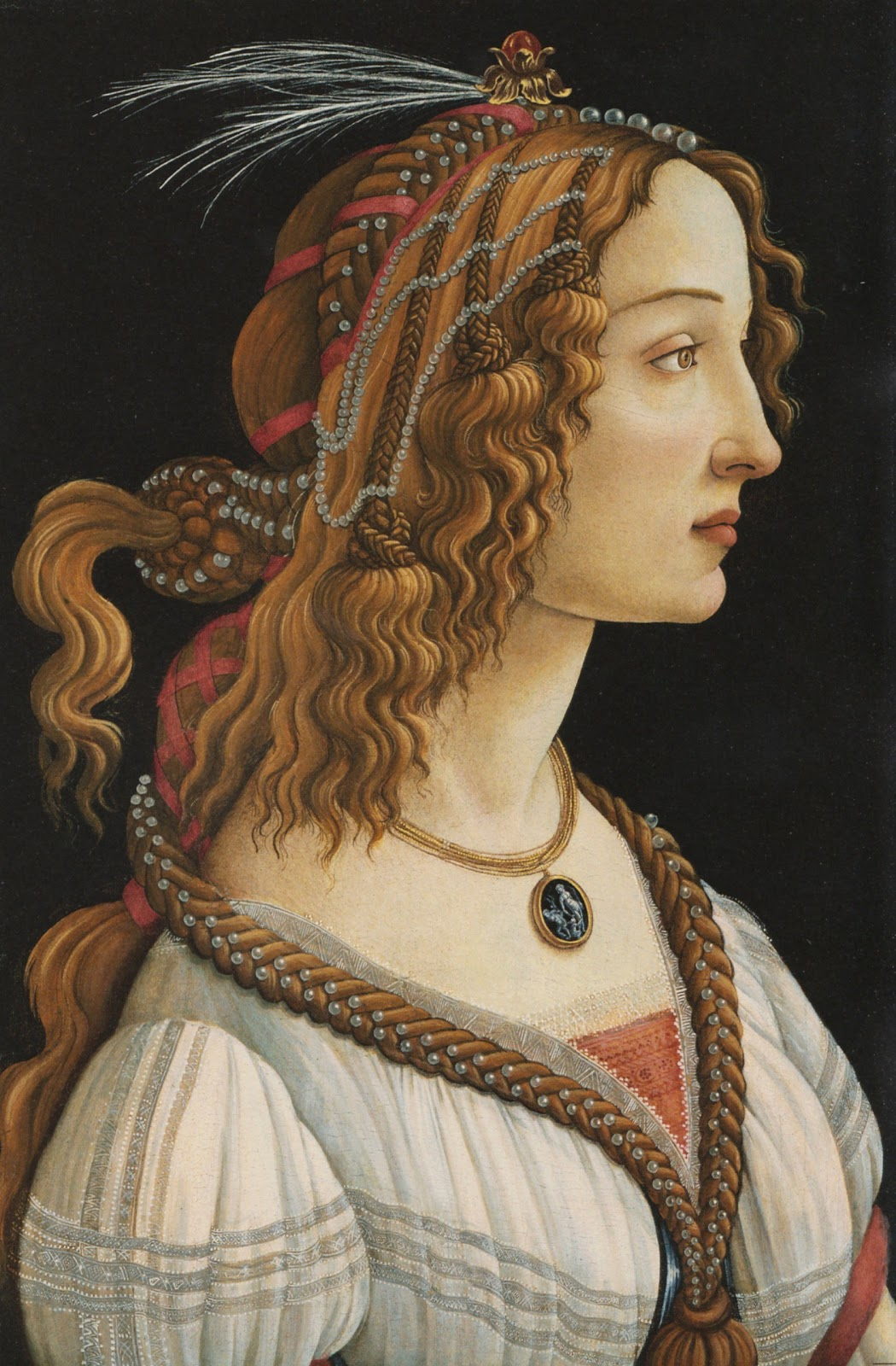 Portrait of a Young Woman,   ,  1480–1485,Tempera on wood, 32 in × 21 in,  Städel Museum