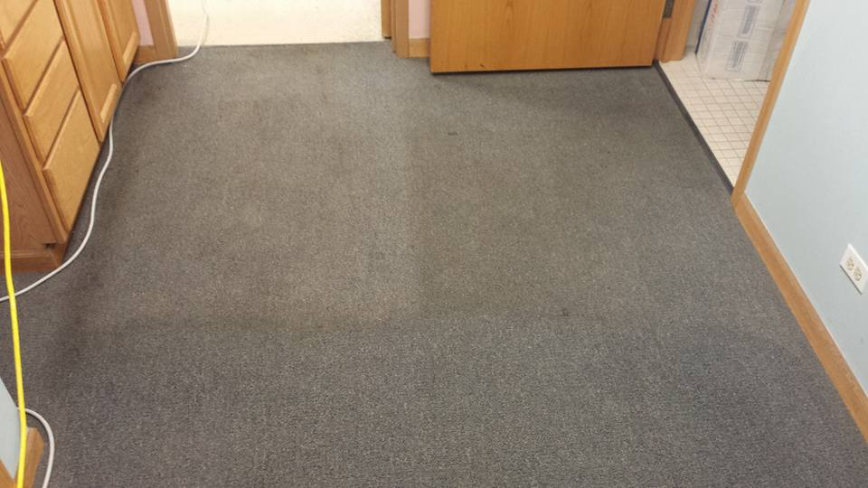 Top carpeting areas are dirty and below has been cleaned by Green Emerald.