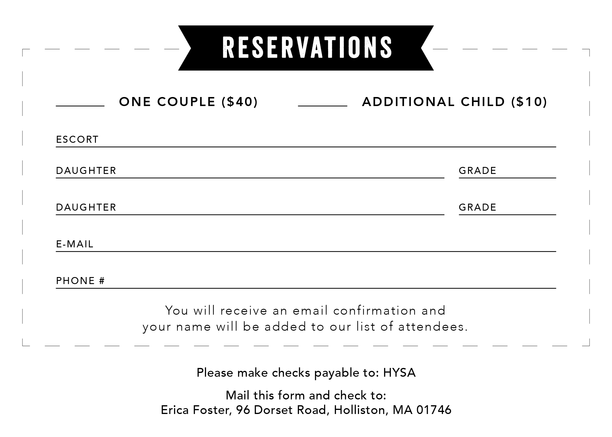 Black & White RSVP form so it can easily be printed from a home printer and mailed to the event planner.