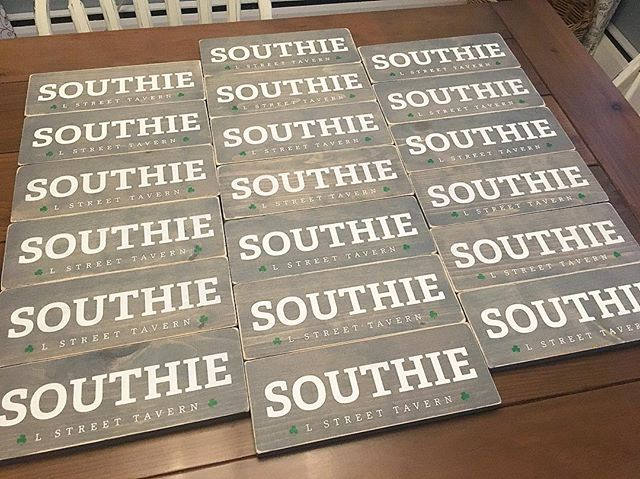The Southie signs are all finished up and ready to be shipped to L Street Tavern in South Boston! ☘️ . . #etsy #etsyseller #etsysellersofinstagram #etsyshop #ackermancreativeco #signmaker #woodsigns #southie #southboston