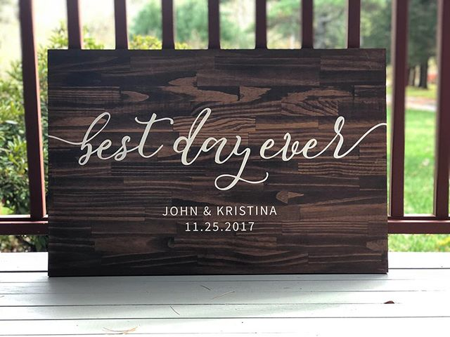 We're still settling into our new home & setting the workshop back up but took a little break to create this sign for an upcoming wedding! The bride & groom are going to be using it as a sign set up during their ceremony as well as their guestbook! Congrats to the future Mr & Mrs!