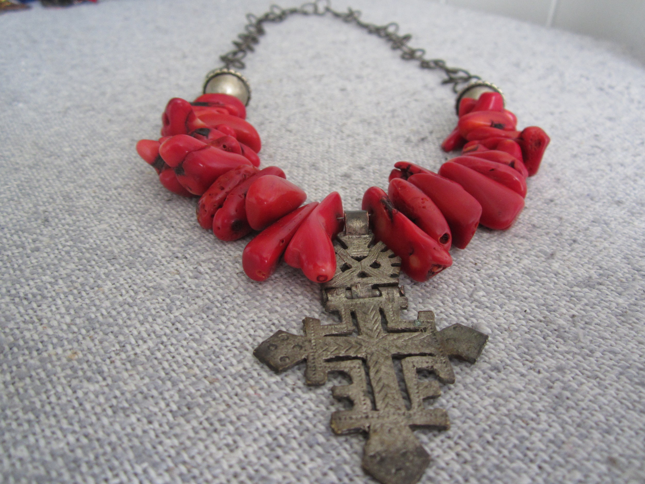 red coral Ethiopian cross necklace