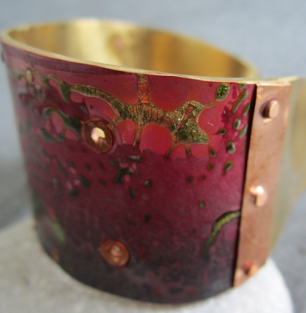 brass and copper enamel cuff