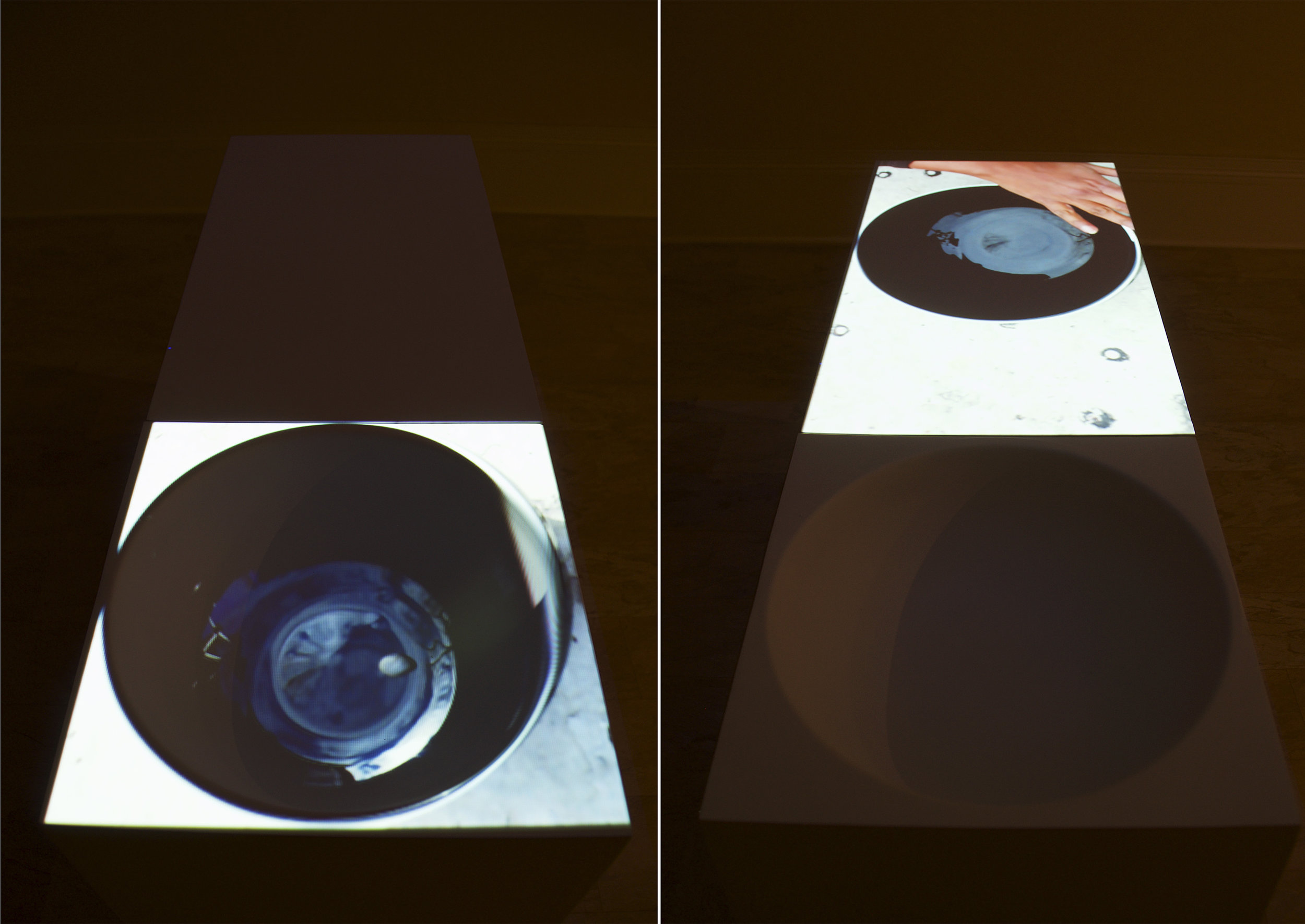 """Potentially Empty, 2015, 17""""x 36""""x32"""",time lapse photography and video projection on custom made pedestals"""