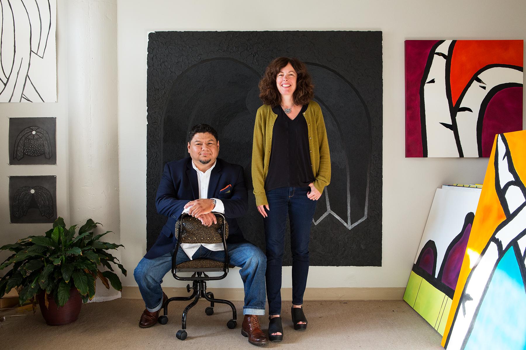 Co-curators, Frank Juarez & Melissa Dorn. Photo by Lois Bielefeld.