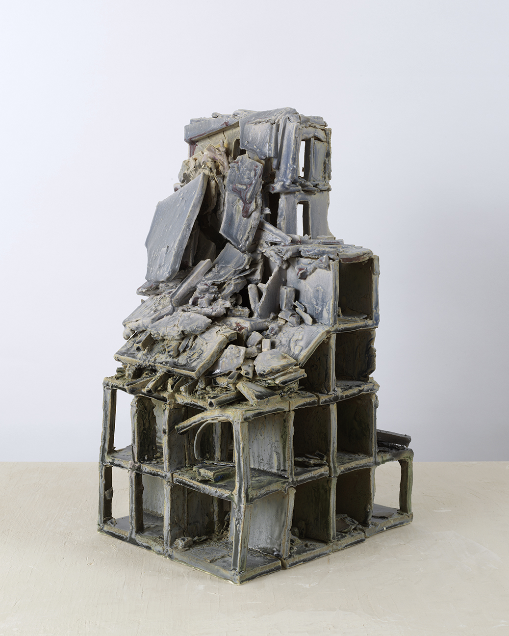 "Alison Ruttan, ""Blue Hulk"" an ""e"" f rom the series Gone , Ceramic, 9 x 11 x 18.5 inches, 2017. Image courtesy of the artist."