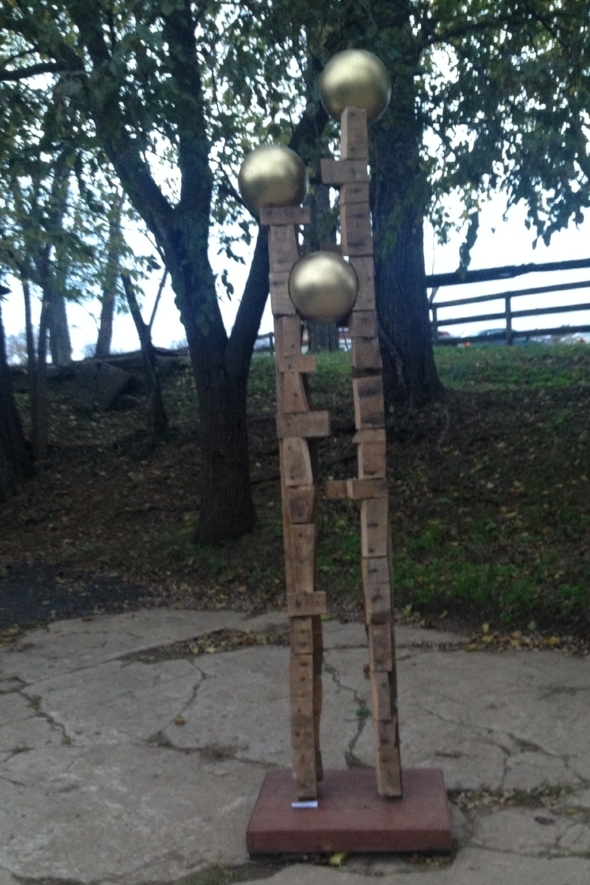 Ball Buster Mixed Media: Reclaimed wood, bowling balls, spray paint 93x12""