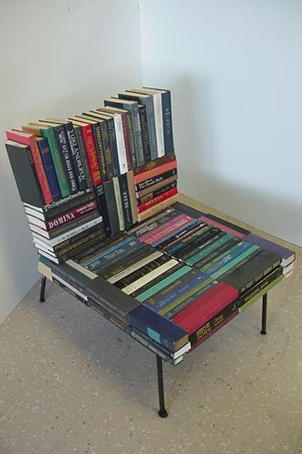 "Biblio-File mixed media: Steel, books 43x41"""