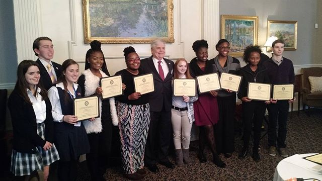 2016 Service Above Self - students from area high schools with Dr Johnson Club President