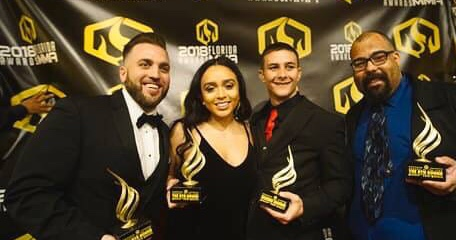 Podcast of the Year Winners, The 6th Round pictured with Shawn Brown of Combat Club the 2018 Breakthrough Fighter of the Year (Pictured Left to Right, Kyle Eberts, Evelyn Romo, Shawn Brown, PR Superstar)