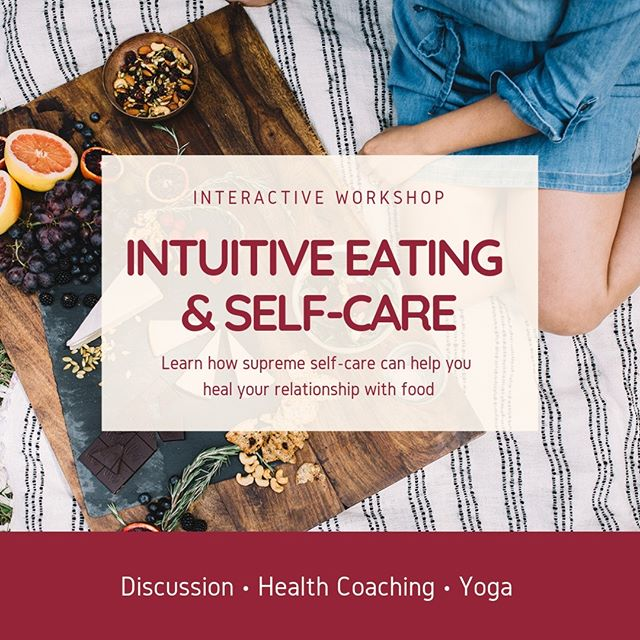 Intuitive Eating is about so much more than just food -- it's also about self-care and learning to take control of your body and your life.   Your body is there for you through everything, and it deserves your love - Every time you take care of YOU first, everything else falls into place.  Join me on April 7th at @electricityyoga for an interactive workshop where you will learn how supreme self-care can help you heal your relationship with food and your body.   You can register directly at the studio or by calling 864 314 3891 -- I look forward to seeing you there! 