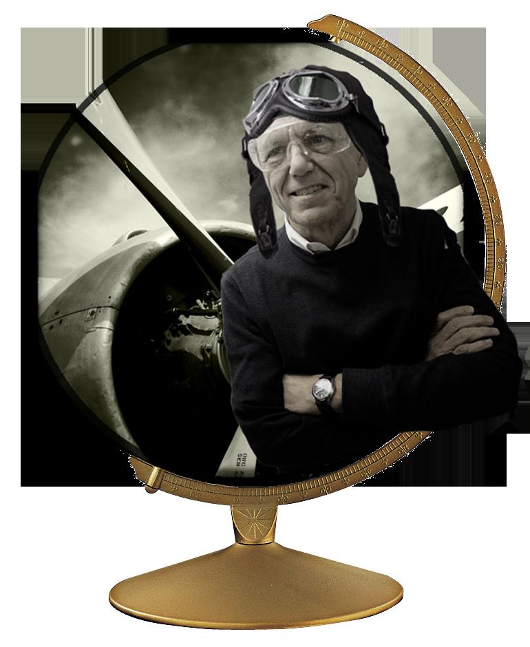 George prepares to pilot his propeller plane.