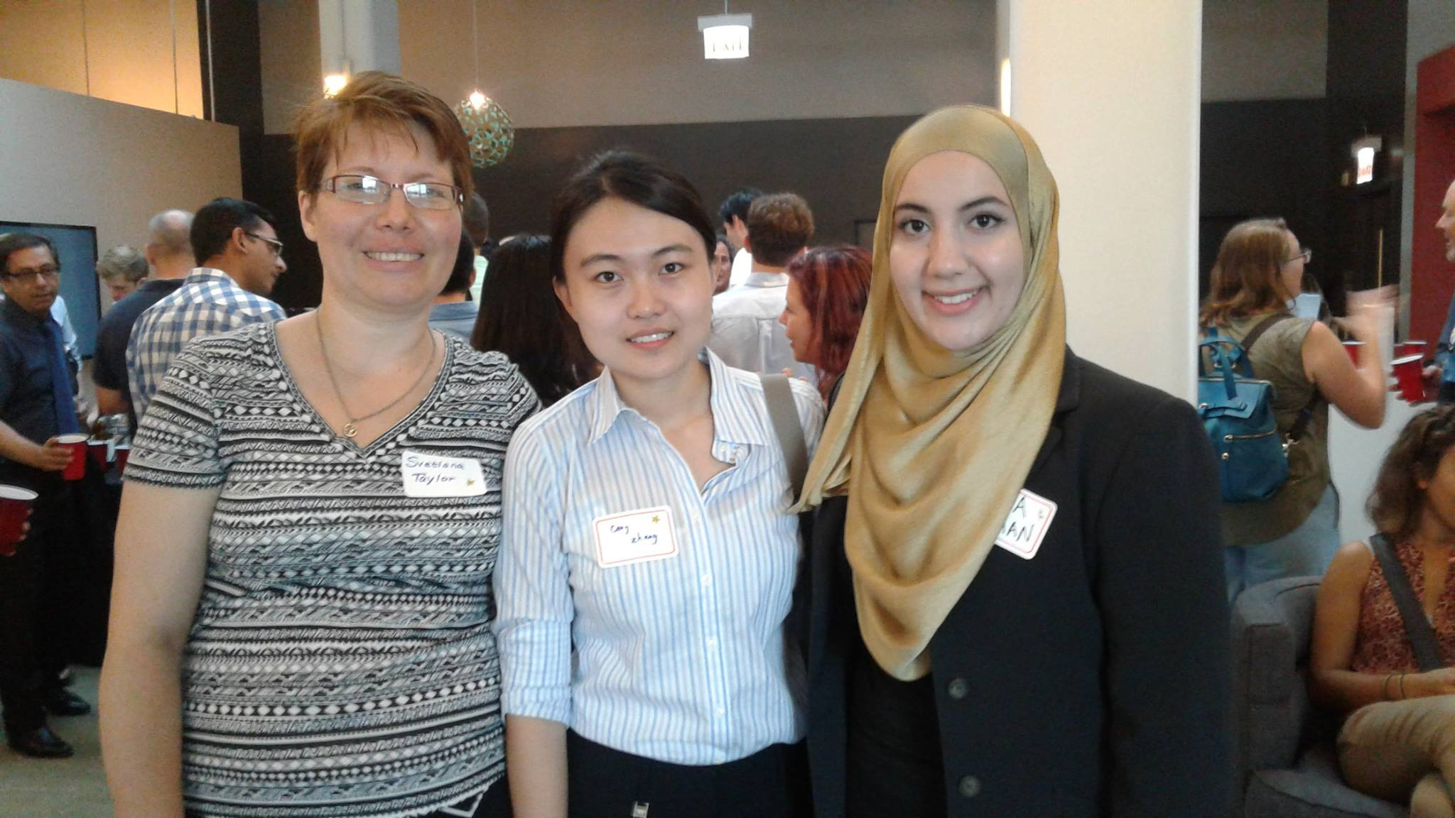 (Left to Right)Svetlana Taylor, (ChE, 5th year), Cong Zhang (MAE, Graduate Student), and Yusra Saad Sarhan (BME/ChE, 4th year)