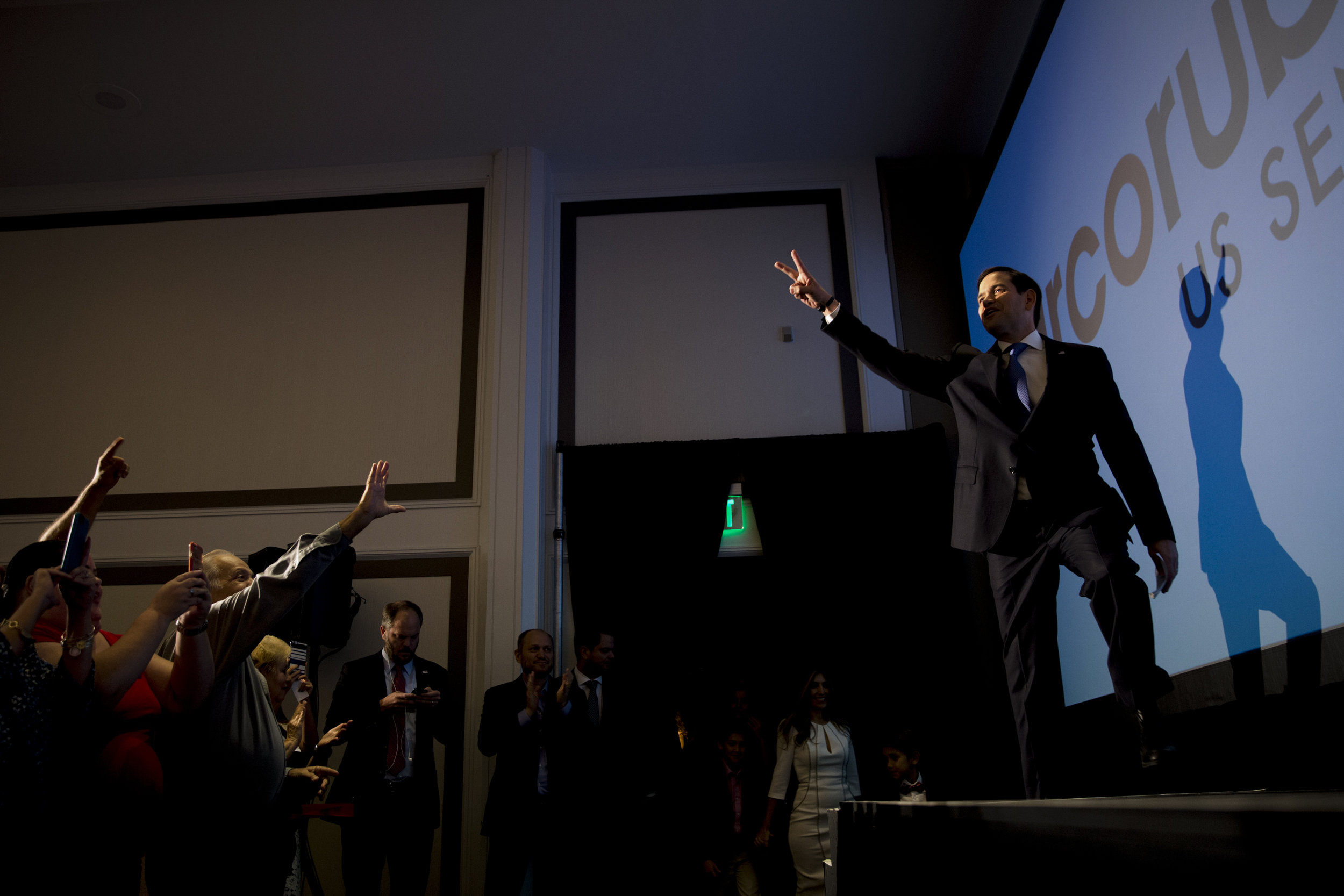 Re-elected U.S. Senator of Florida Marco Rubio makes his grand entrance to a crowd of supporters during his election watch party at the Hilton Miami Airport Tuesday, Nov. 8, 2016 in Miami.