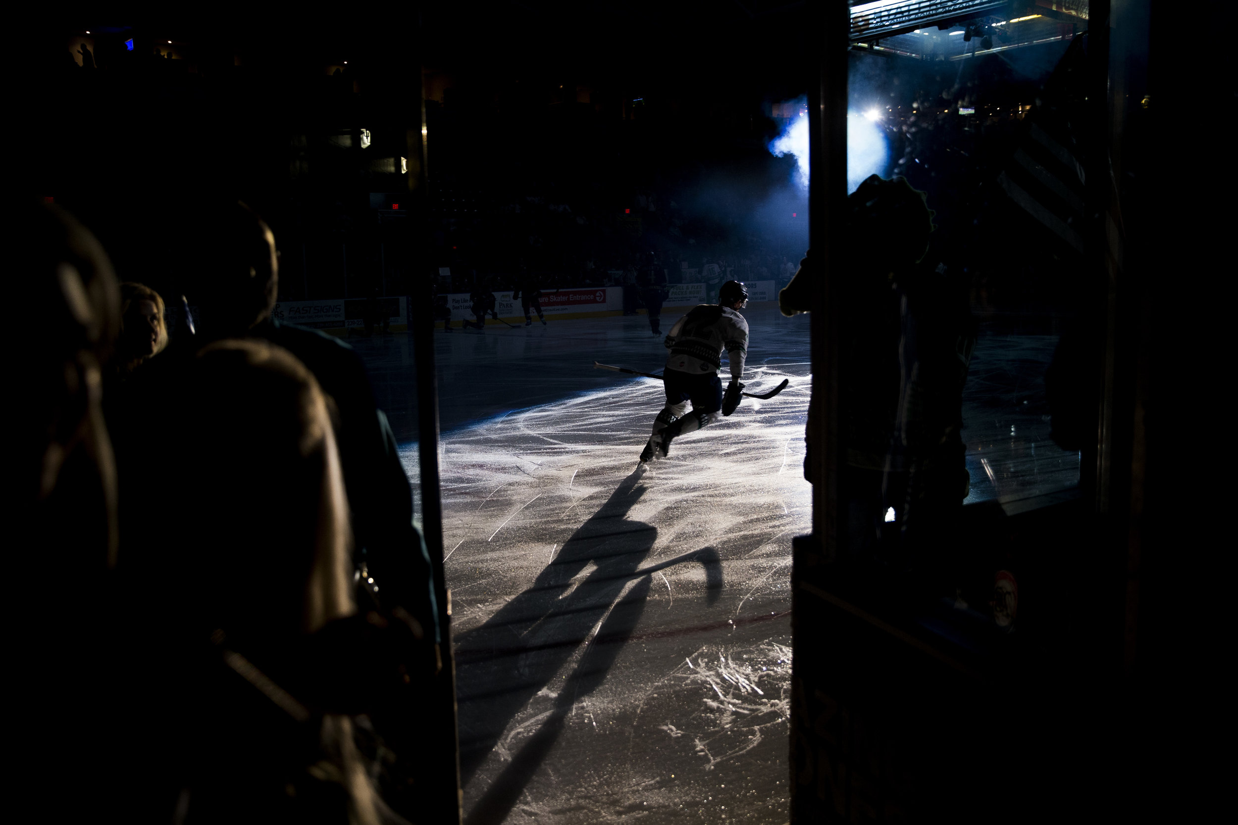 Florida Everblades' Clark Seymour (22) takes to the ice prior to their matchup with the Atlanta Gladiators during the first period of game one of the first round of the ECHL playoffs at Germain Arena Monday, April 16, 2018 in Estero, Fla.