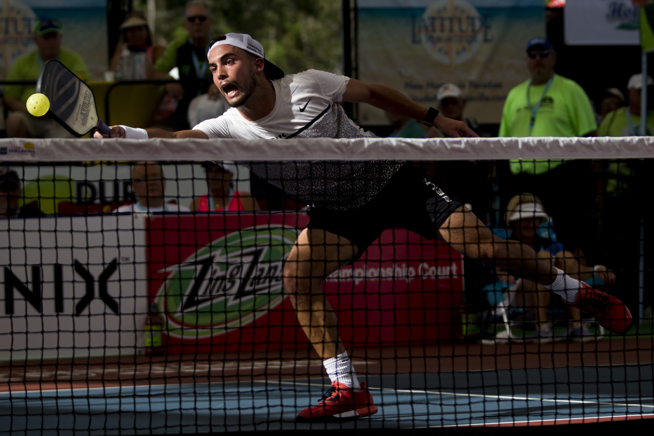 Tyson McGuffin during the men's Pro division Pickleball Championship match during the first day of the 2018 U.S. Open Pickleball Championships at East Naples Community Park Sunday, April 22, 2018 in Naples. McGuffin would defeat Fort Myers local Kyle Yates in three sets.