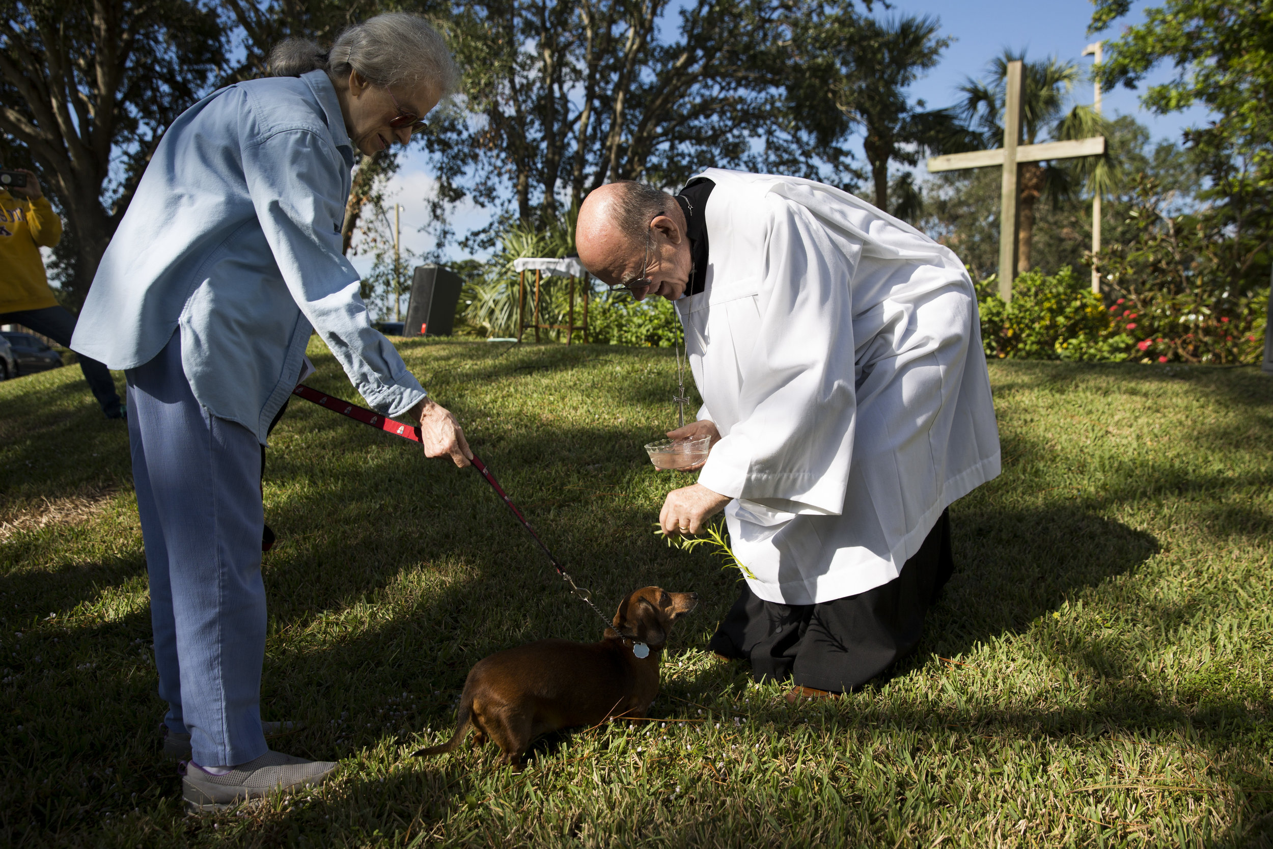 """Father Bill Faupel of St. Paul's Episcopal Church blesses Hazel, a Dachshund, during the church's annual """"Blessing of the Pets"""" service at Saturday, Nov. 25, 2017 in Naples, Fla."""