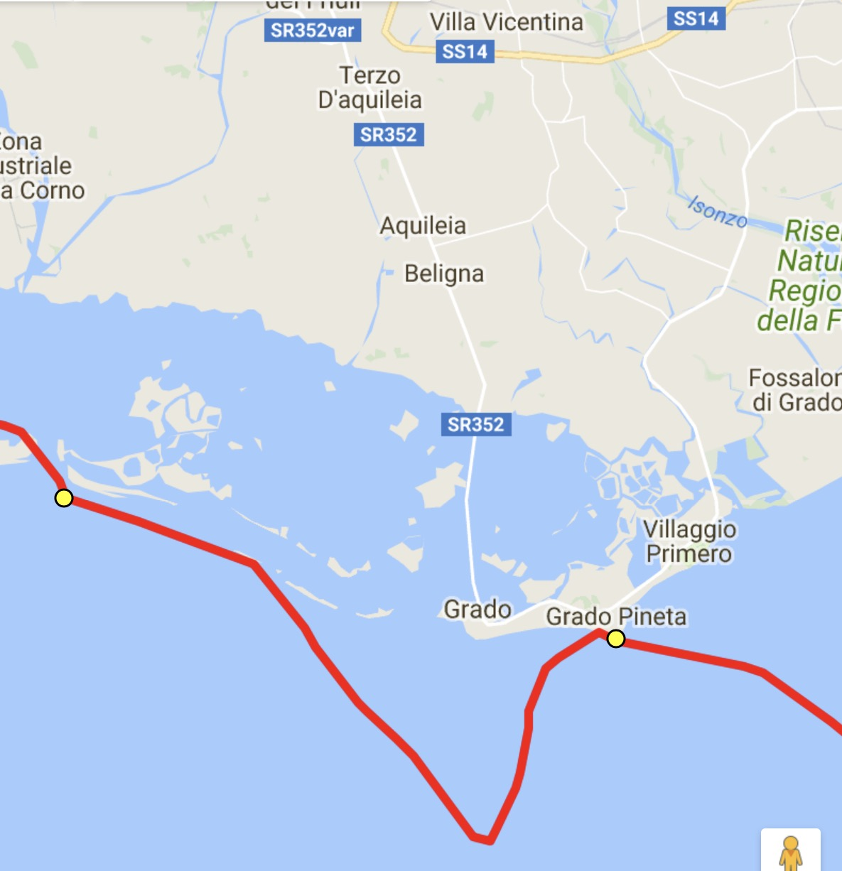 It took us two hours from where we turned to reach Grado Pineta. That was a hard, hard paddle.