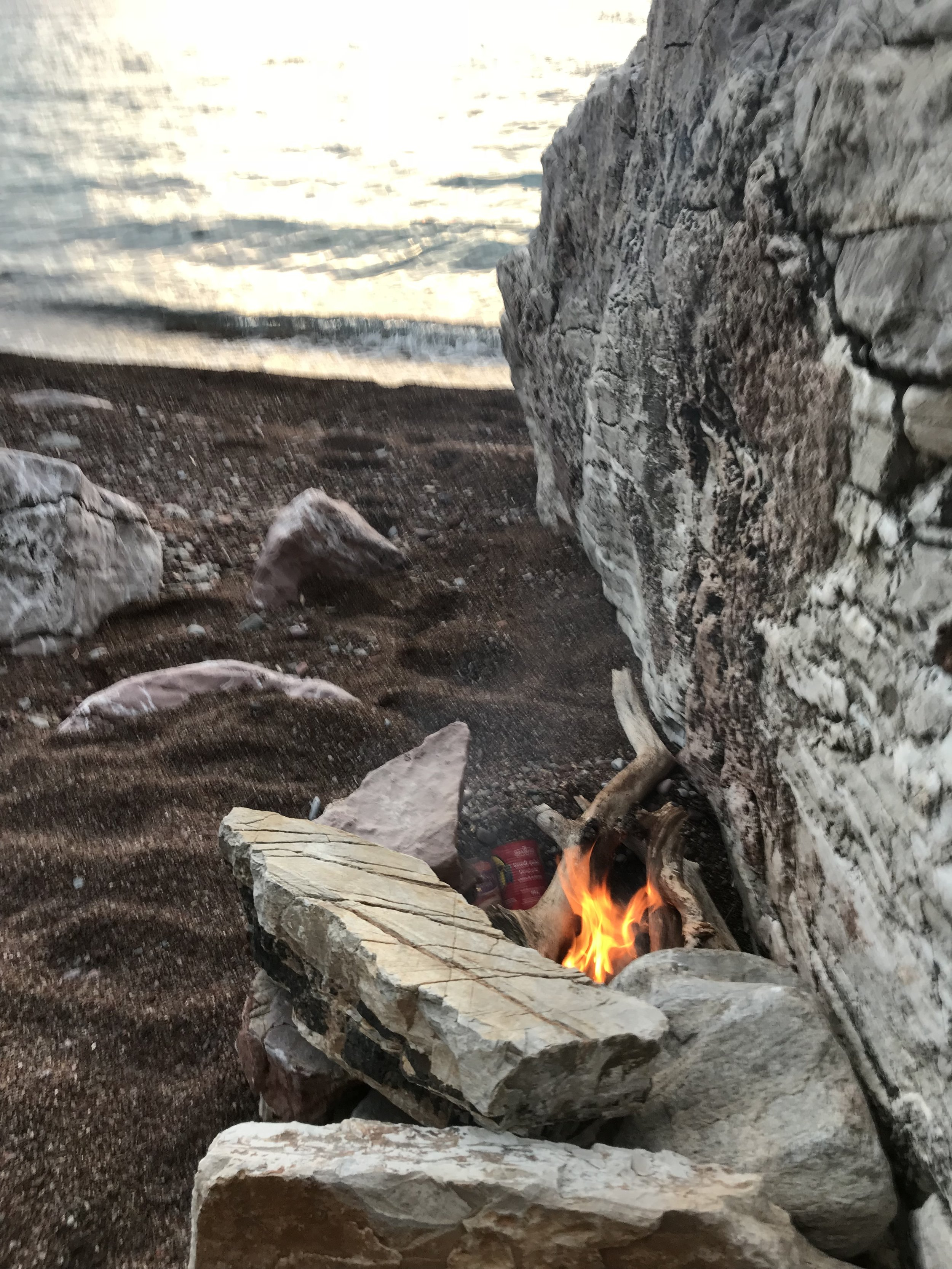 Great day paddling. We ended up close to a place called Canj. Parked the kayaks at an isolated beach, made a fire, warmed up tin cans of chili and goulash, and had a great meal and a gorgeous sunset.