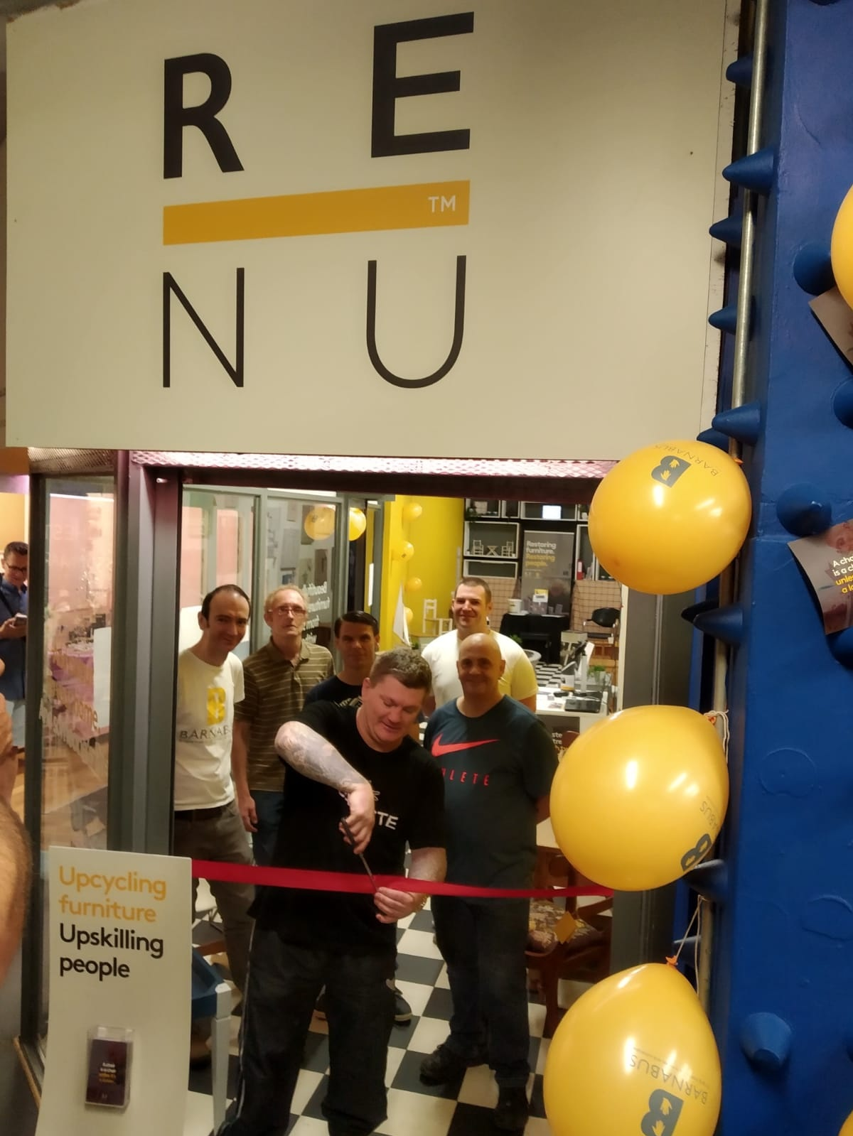 """Ricky Hatton cuts the ribbon - This is the moment Ricky Hatton opened the RENU shop for business. Ricky has been a patron and great supporter of Barnabus for many years now, it was brilliant to have him come down and support us as we launched the RENU shop in Affleck's.Neil Cornthwaite, head of operations at Barnabus, said """"Tackling homelessness requires much more than giving someone a roof over their head, it's about giving them the skills and confidence to adjust to life off the streets. Here at Barnabus we have found RENU to be an important piece of the puzzle and it has had some great successes helping people back into work.""""The RENU pop-up shop in Affleck's Palace can be found on the second floor just to the left of the Oldham Street staircase opposite the Soapy J Bathbomb shop."""