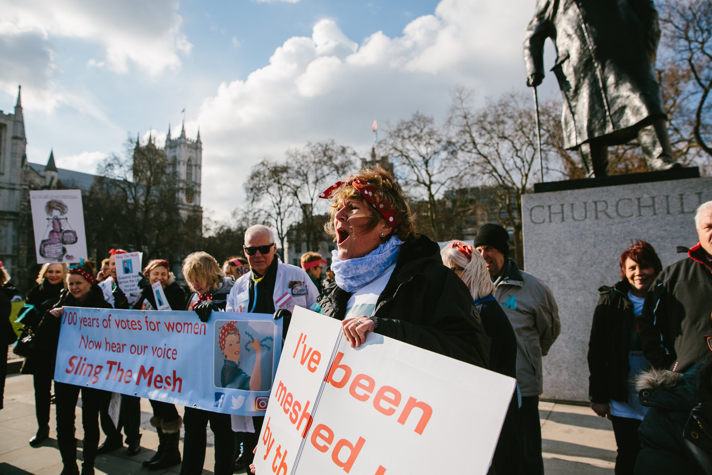 Campaigners shared their concerns with the public in Parliament Square, many of whom had never heard of mesh - sometimes called 'tape' - or the effects that it can have