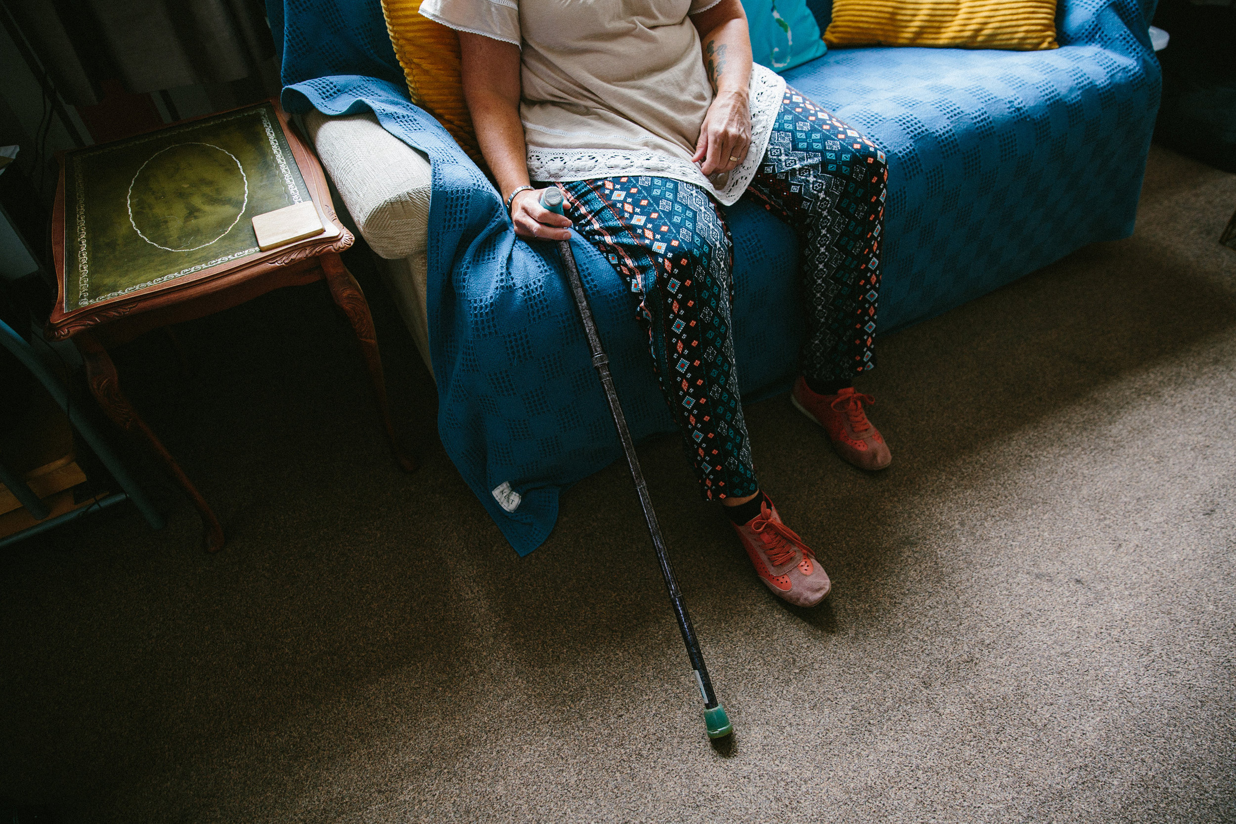 After nearly 13 years Jackie is unable to walk long distances, or to sit for any length of time. She relies on a stick daily, and has to use a mobility scooter for long journeys