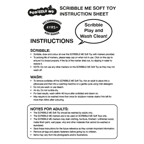 Scribble Me Soft Toy Instructions