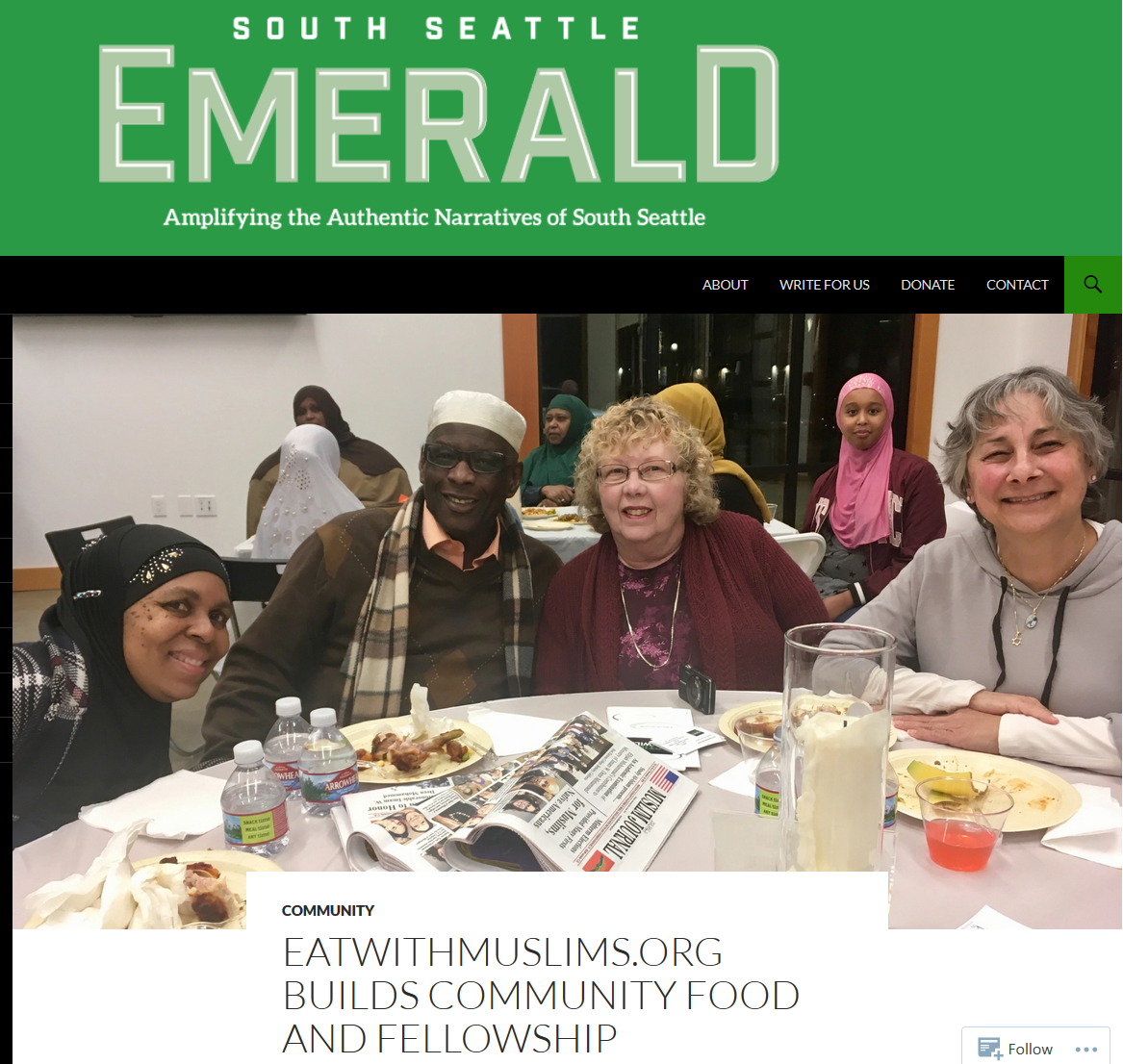 Eatwithmuslims.org Builds Community, Food and Fellowship - 12/21/2018: Peals of laughter and layers of conversation in Arabic, Somali, and English echoed up to the high ceilings of the Sullivan Community Center in Tukwila on Saturday November 17th, when 50 guests shared a meal in an event hosted by EatWithMuslims.org and Action Tukwila, a grassroots group that organizes community-building projects.