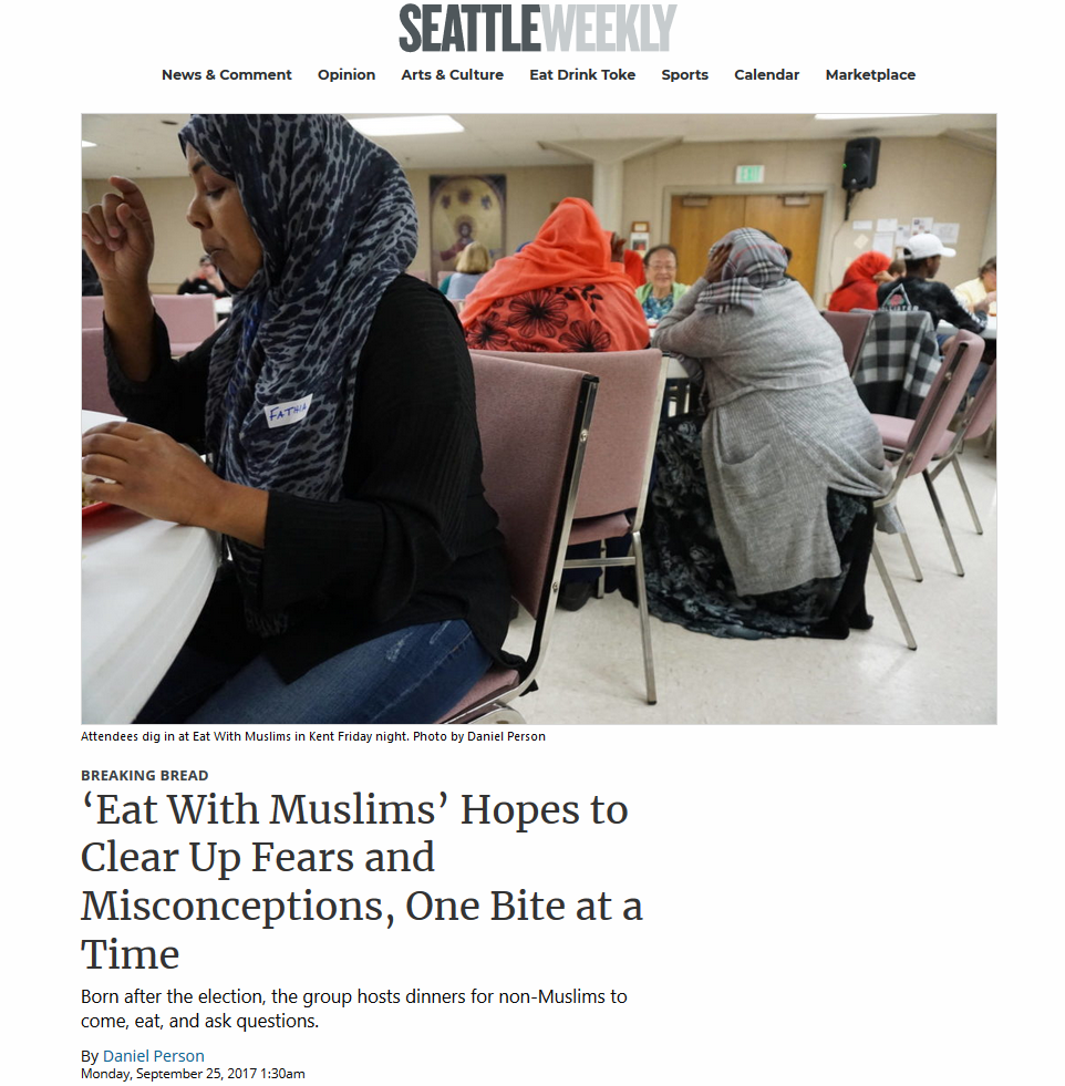 'Eat With Muslims' Hopes to Clear Up Fears and Misconceptions, One Bite at a Time - 9/24/2017: In the wake of last year's presidential election, Fathia Absie and Ilays Aden wanted to do something to change people's perceptions of Muslims. After all, a major plank of candidate Donald Trump's campaign had been a promise to ban Muslim immigrants like Absie and Aden from entering the United States
