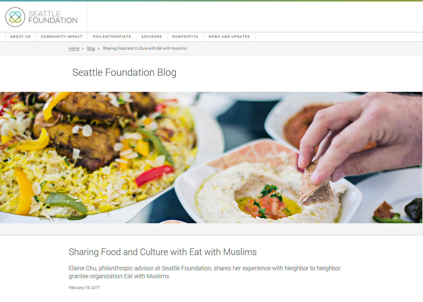 Sharing Food and Culture with Eat with Muslims - 2/16/2017: Elaine Chu, philanthropic advisor at Seattle Foundation, shares her experience with Neighbor to Neighbor grantee organization Eat with Muslims.