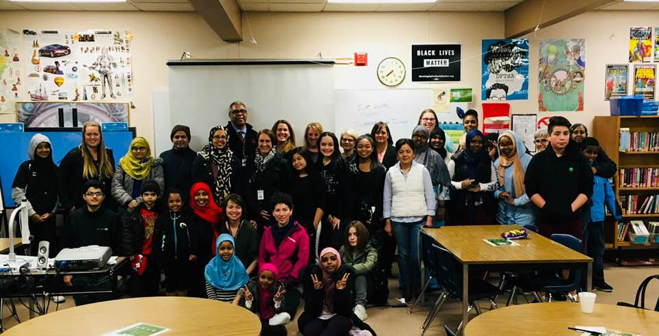 Families and students of Chinook Middle School at the Dr. MLK Jr. Day event.