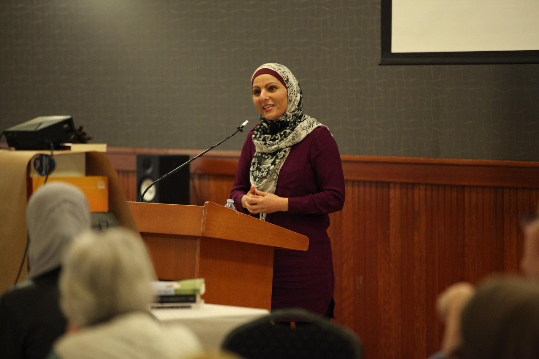 Annelah Afzali speaking at Eat With Muslims Anniversary Dinner April 27, 2018