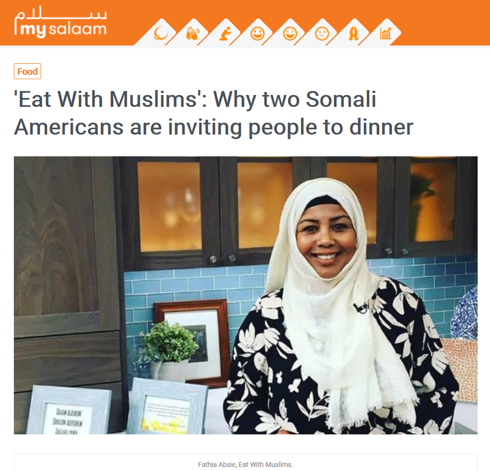 "'Eat With Muslims': Why two Somali Americans are inviting people to dinner - 2/21/2019: …""In the beginning, our network was very small. But there is no shortage of non-Muslims who want to connect with Muslims. We make it very cozy, very intimate, and we can talk about anything we want,"" Fathia told K5 News, adding, ""we don't just eat together; people actually build bridges, connect and become friends, and then they go and talk to their family members and spread the word.""…"