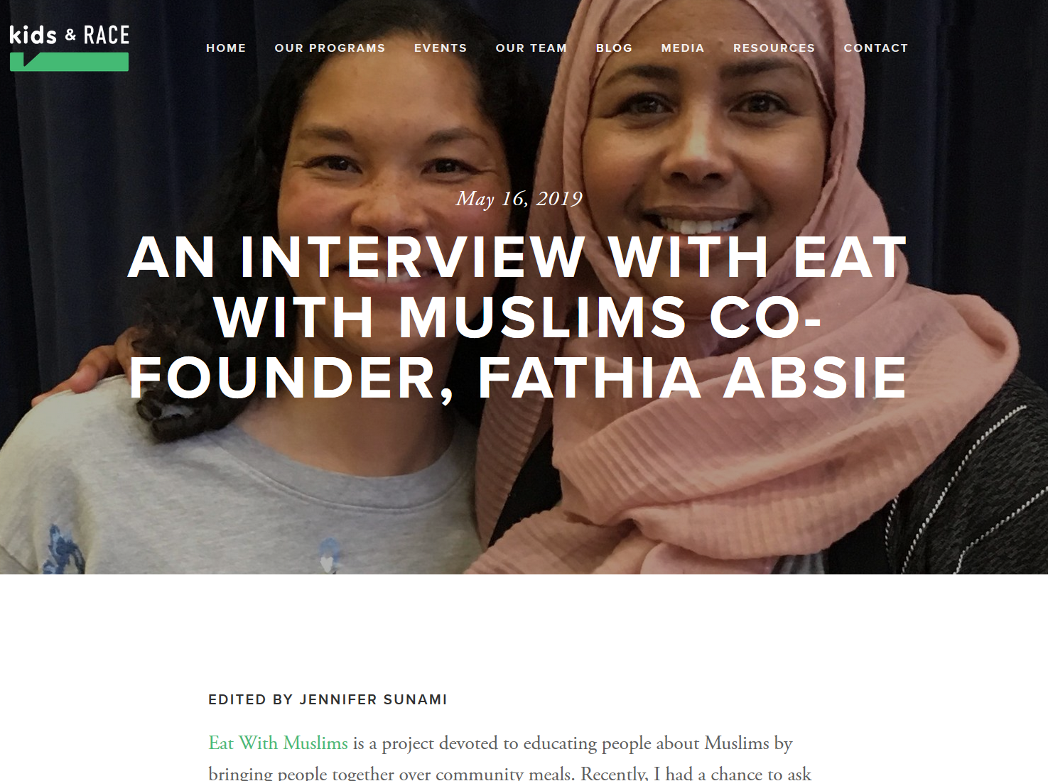 An Interview with Eat With Muslims Co-Founder, Fathia Absie - 5/16/2019: Eat With Muslims is a project devoted to educating people about Muslims by bringing people together over community meals. Recently, I had a chance to ask Eat With Muslims co-founder Fathia Absie how she got started, and she shared some of her fascinating story.