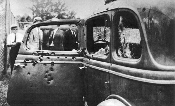 The car Bonnie and Clyde drove down a country road on the afternoon of May 23, 1934 was pierced by at least 167 bullets shot from the weapons of the lawmen and others hiding in wait behind trees and shrubs beside the rural road.