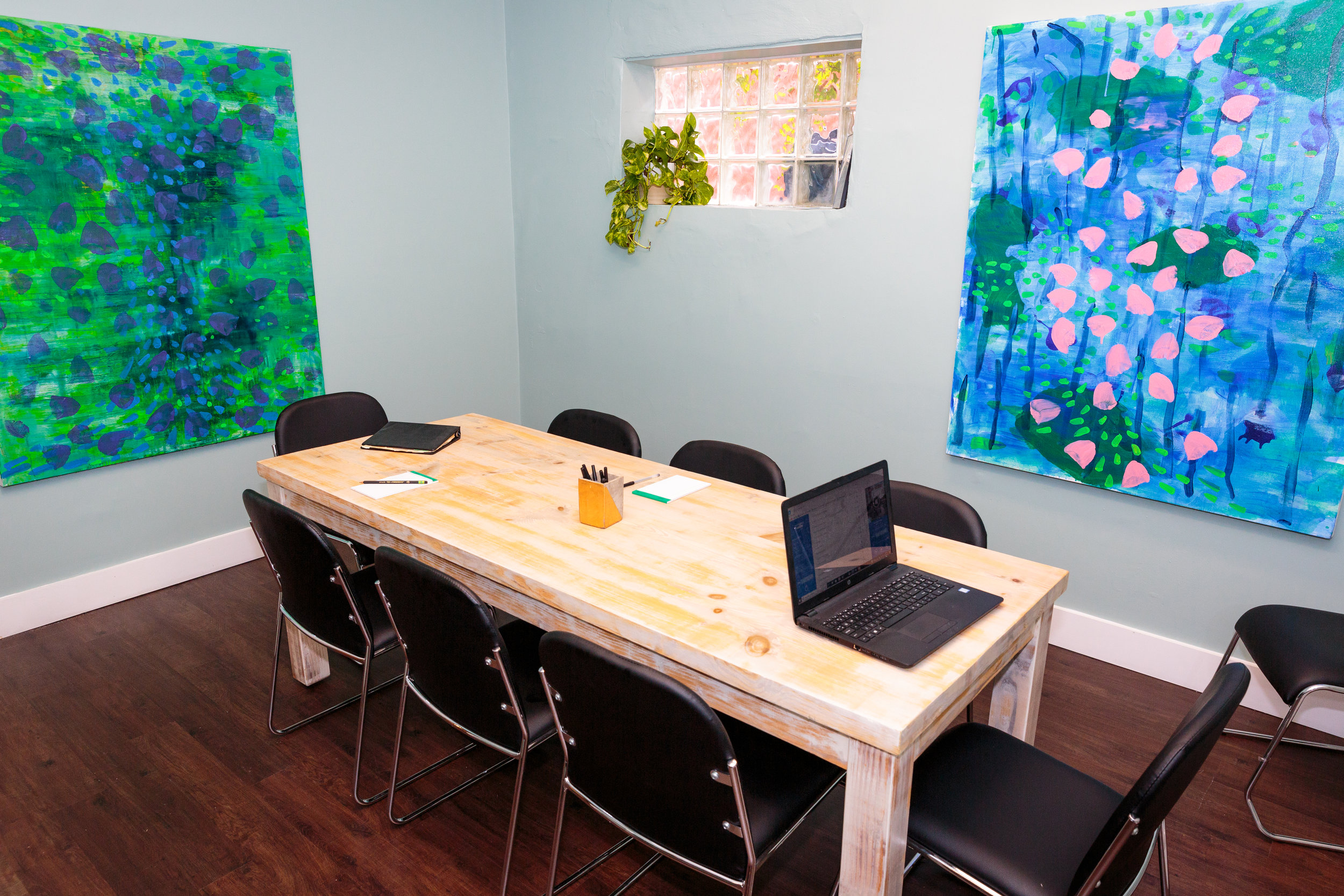 With a whiteboard, donuts, coffee, and seating for 8, this is the most comfortable place for your next meeting