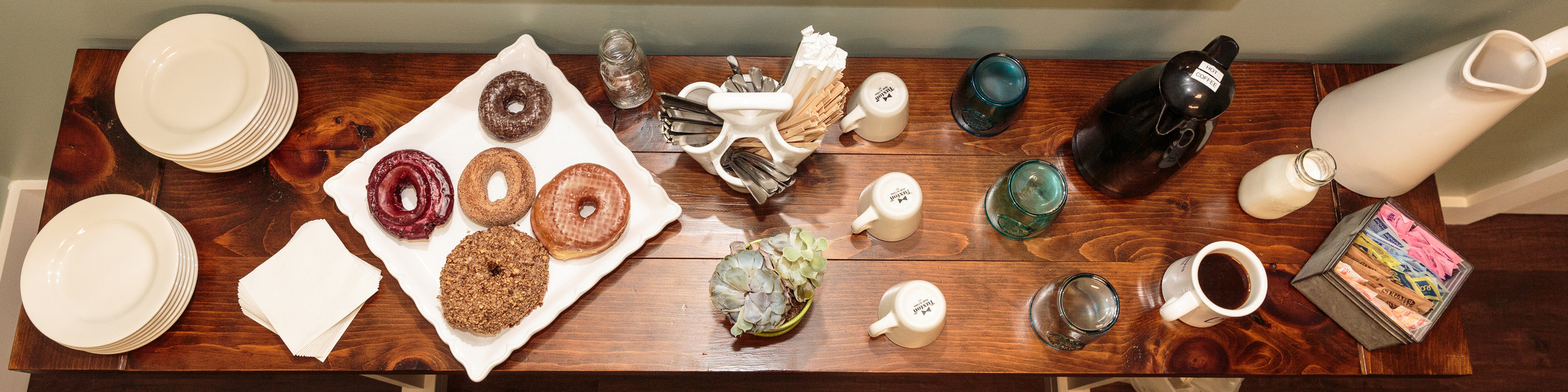 Enjoy a spread of delicious donuts and tasty coffee while you work