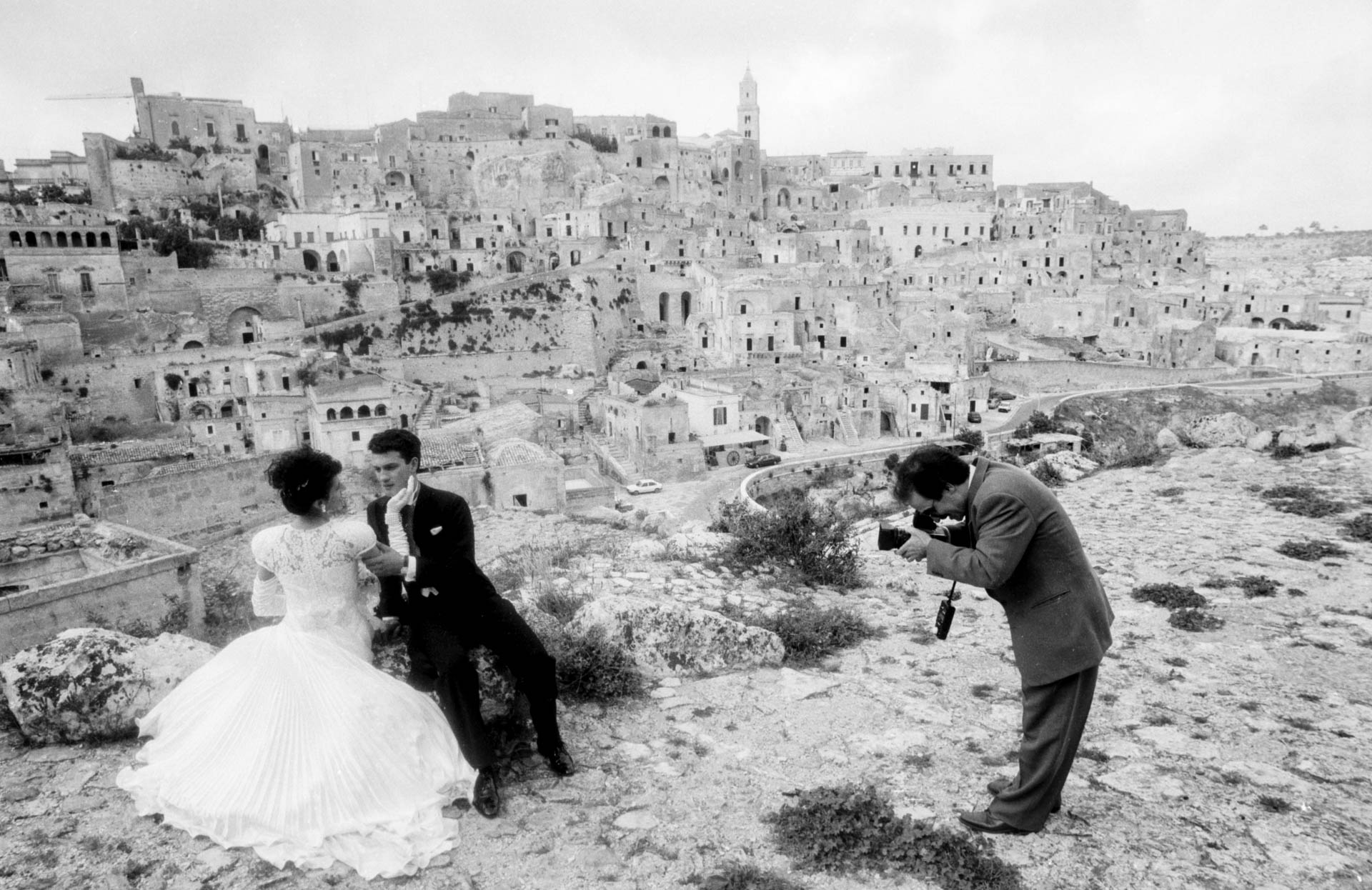 Matera, Italy - 19 October 1991 Photos after the ceremony: Italians like to splurge for the wedding photo shoot.