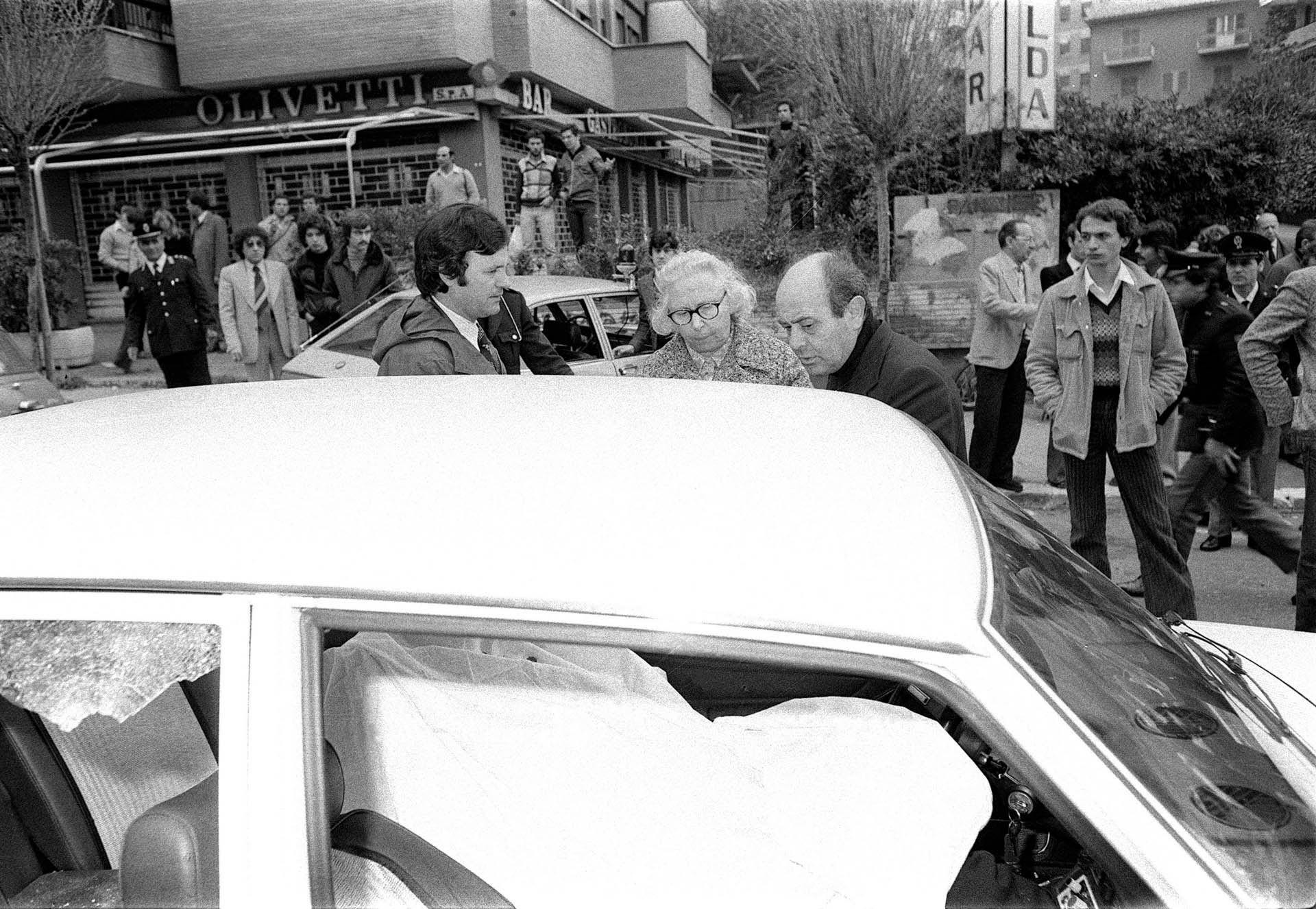 Rome, Italy - 16 March 1978 The day Aldo Moro was kidnapped: the escort men killed by Red Brigades.