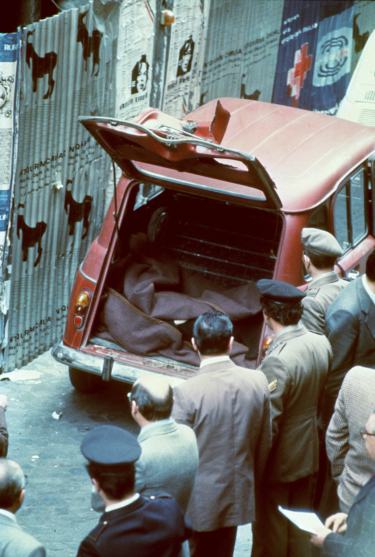 Rome, Italy 9 May 1978 The discovery of Aldo Moro's corpse inside the red Renault in Caetani street.