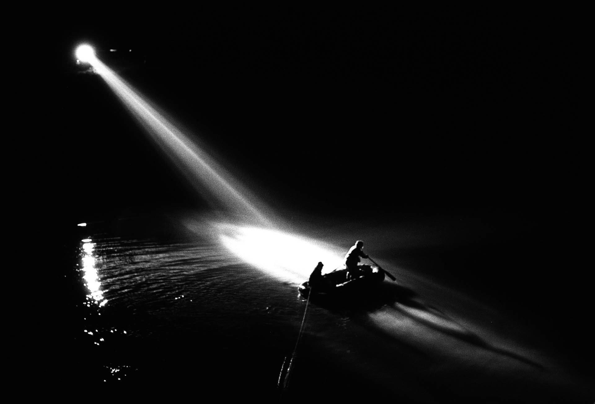 Rome, Italy - 10 May 1978 The police followed many tracks to find Aldo Moro, in the picture the night search in Duchessa Lake.