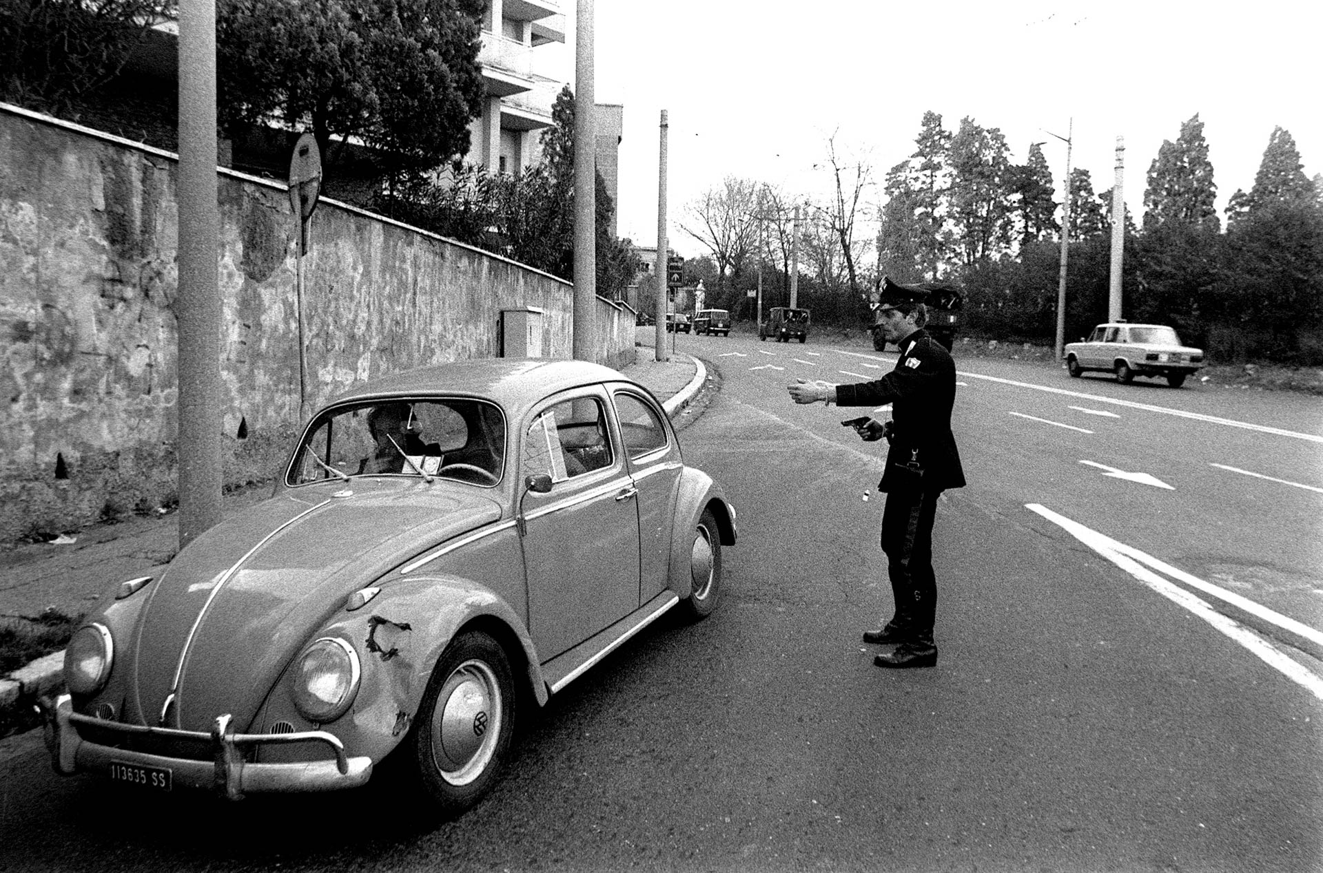 Rome, Italy - 5 May 1978 Controls in the streets of Rome by Italian police after Aldo Moro's kidnapping.