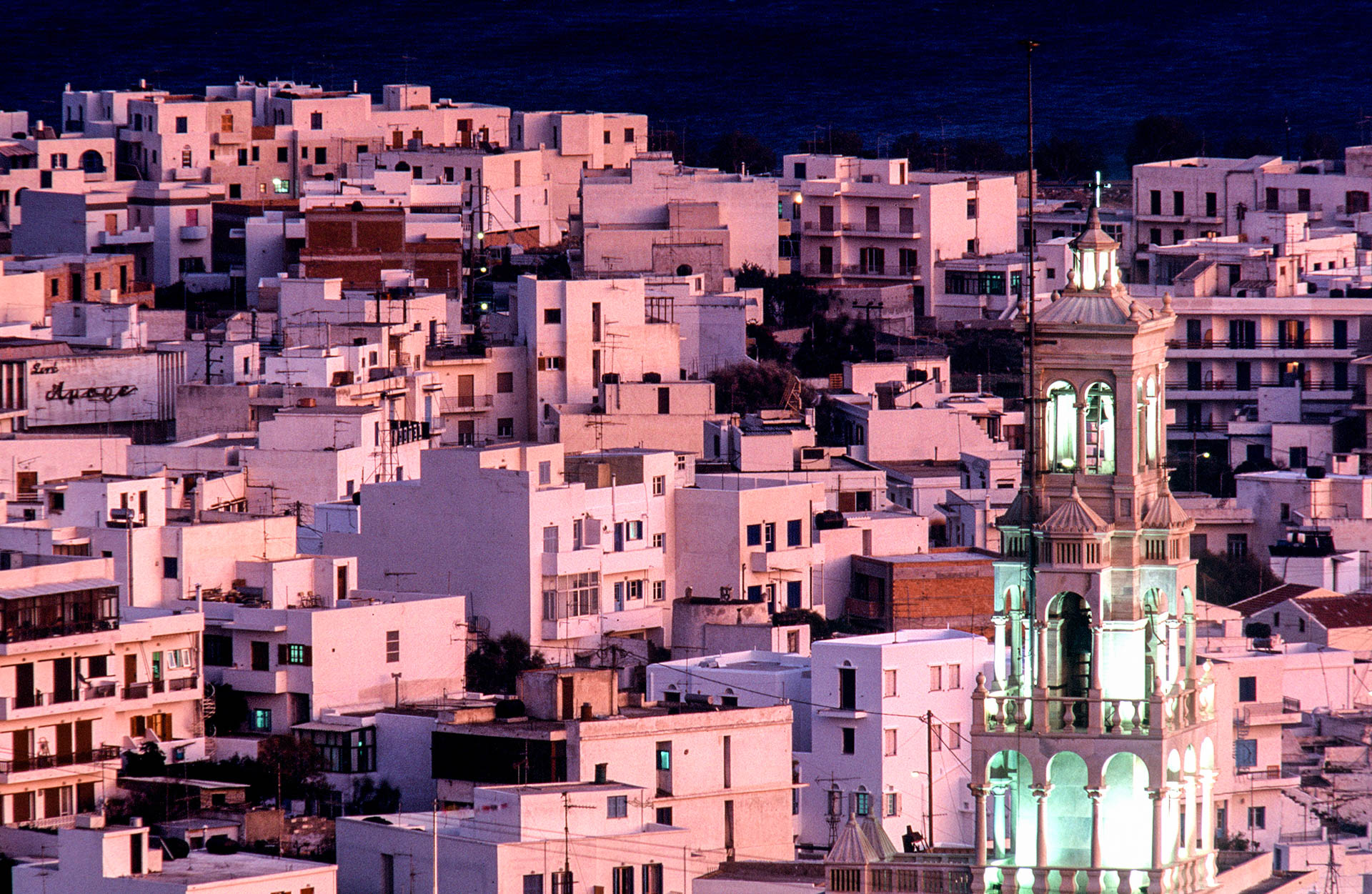 The miracle around the world: Tinos, a long shot of the village.