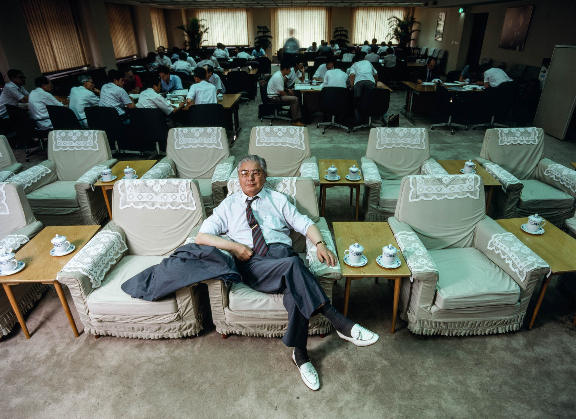 "Beijing, China - June 1988. Ron Yiren, nicknamed ""the Red Capitalist"", owns 200 companies, including only independent bank of China."