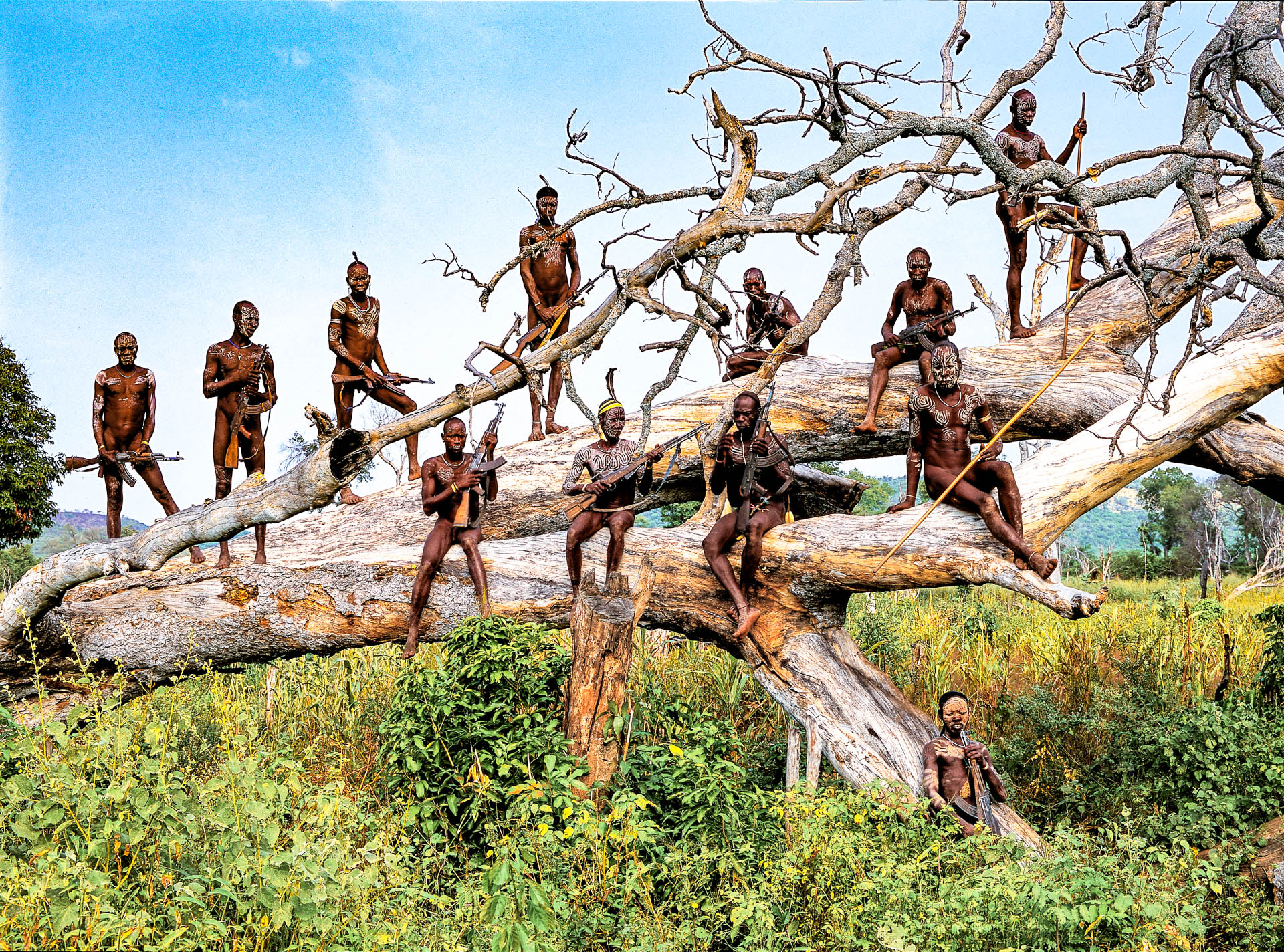 A group of warriors  armed with Kalashnikovs on a huge tree at the edge of the village of Komba.