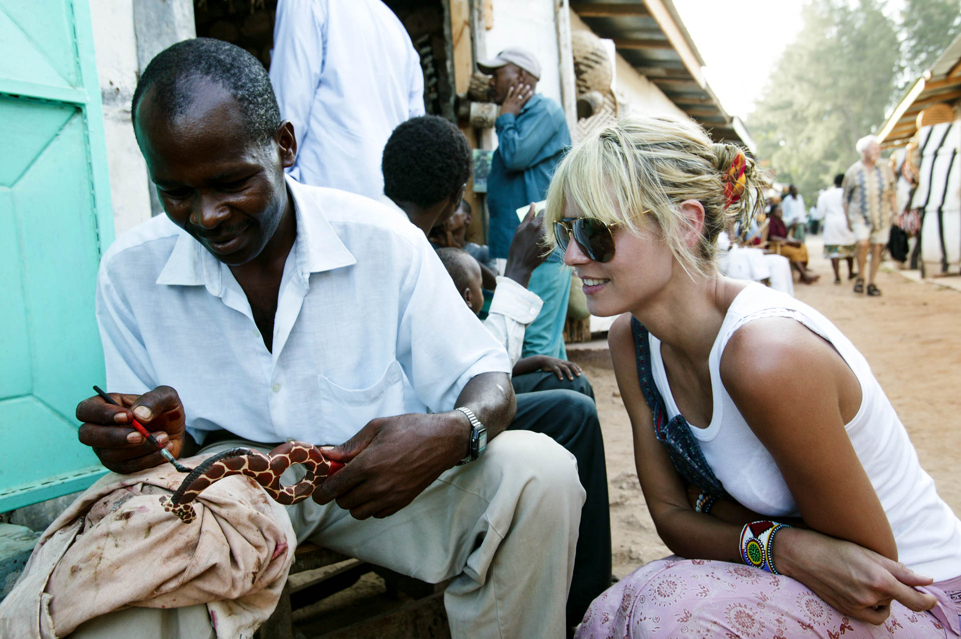 Heidi duing shopping in the market of Malindi.