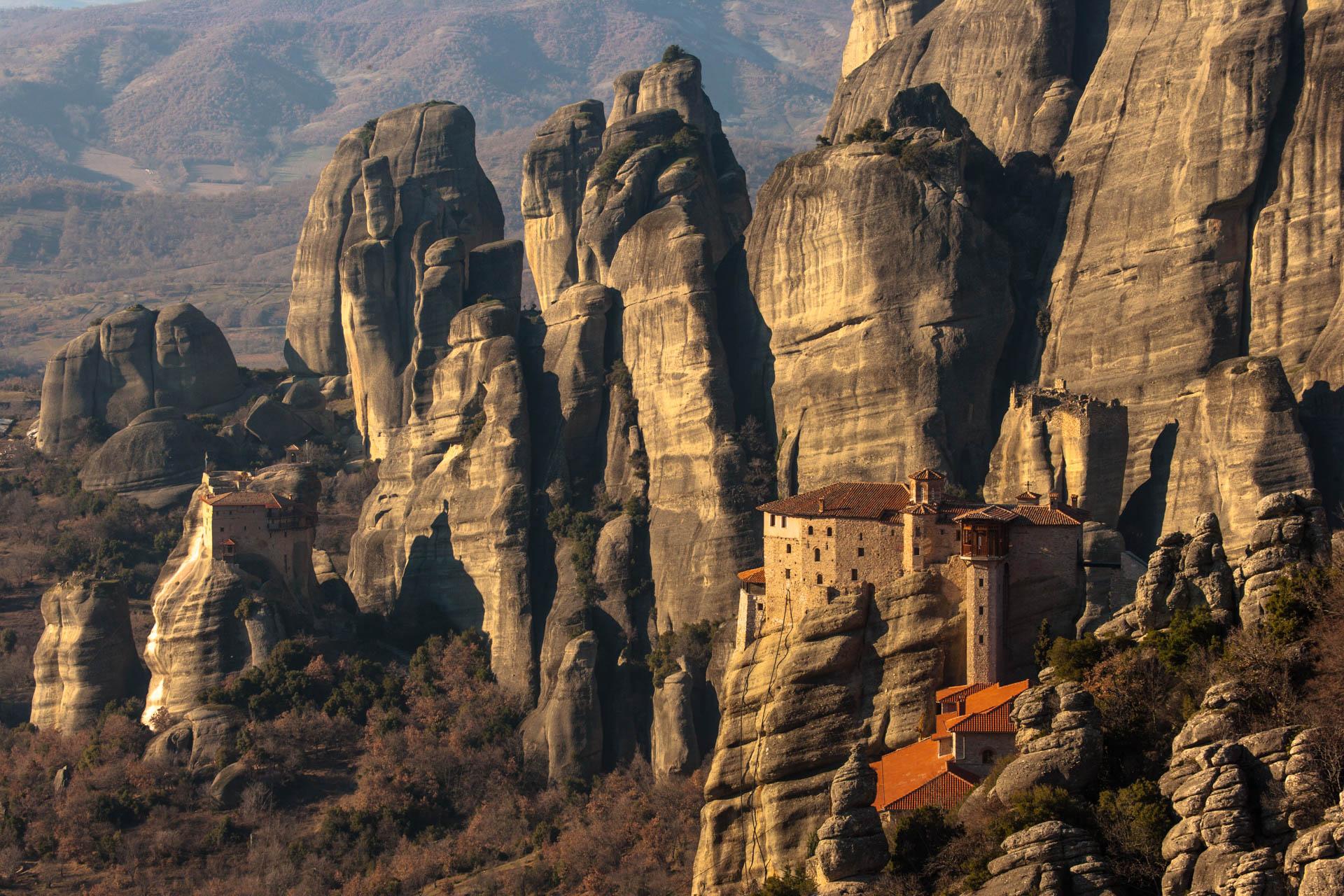 Kalambaka, Greece - 17 January 2006Roussanou Monastery.The Meteora monasteries , 1988's Unesco World Heritage List, represents today a unique example of monastic life since the 14th century. © GIANNI GIANSANTI